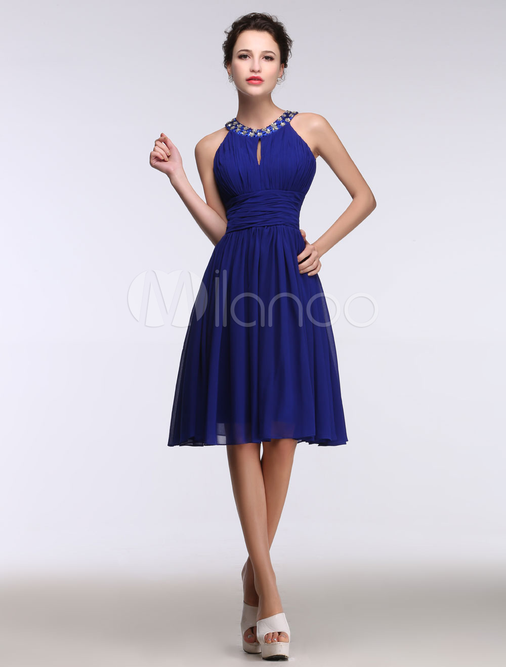 Buy Blue Cocktail Dress Sleeveless A Line Prom Dress Beading Keyhole Crew Neck Pleated Short Homecoming Dress for $128.69 in Milanoo store