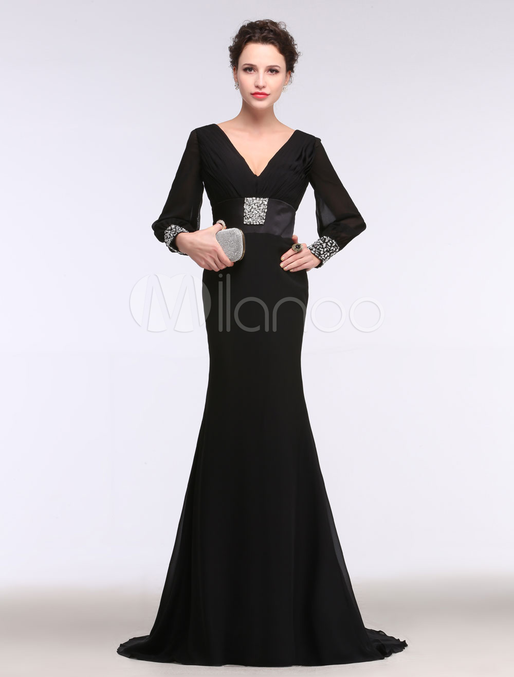 Buy Black Evening Dress Mermaid V Neck Chiffon Party Dress Beading Sweep Train Long Sleeve Formal Dress for $152.99 in Milanoo store