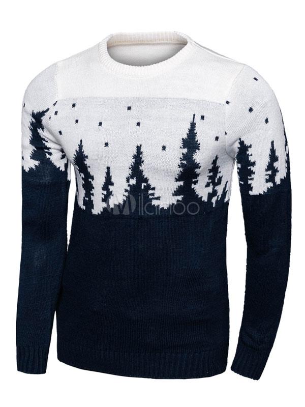 Men's Christmas Sweater Long Sleeve Crew Neckline Pullover Knitwear