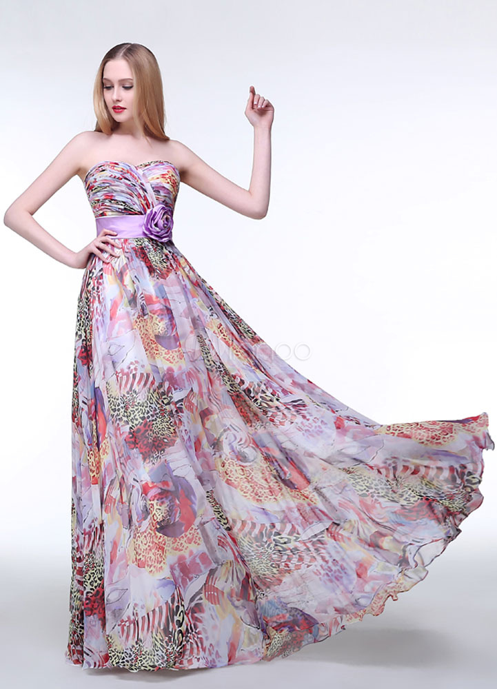 Buy Lilac Prom Dress Floral Sweetheart Chiffon Party Dress Maxi Strapless A Line Handmade Flower Ruched Floor Length Bridesmaid Dress for $144.49 in Milanoo store
