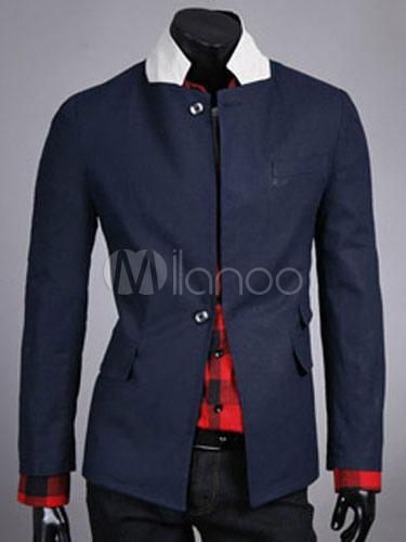 Men's Blazer Jacket Navy Long Sleeve Stand Collar Suit Jacket