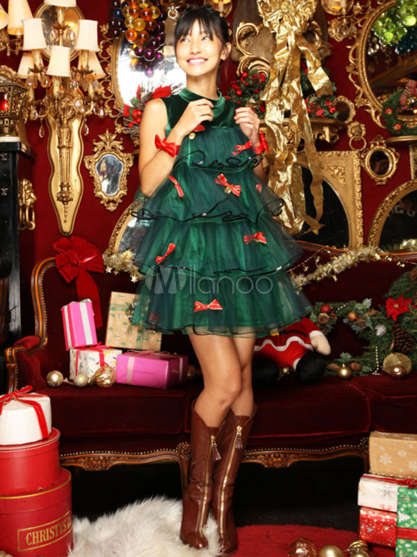sexy christmas tree costume green bows ruffle tiered mini dress with shorts no2 - Christmas Tree Costume