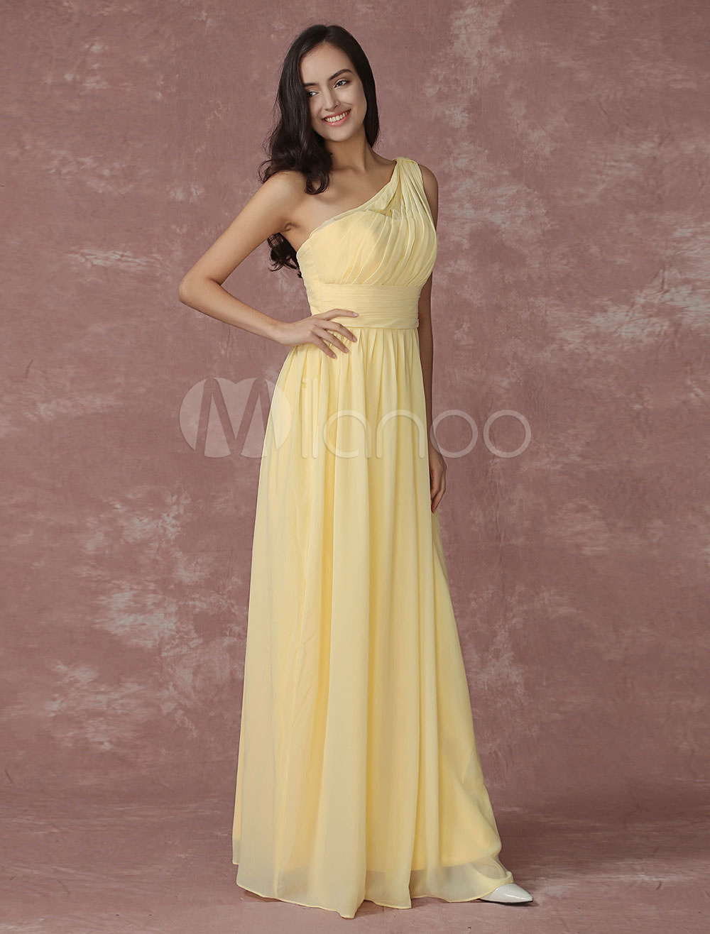 Buy Daffodil Bridesmaid Dress Chiffon One Shoulder A Line Ruched Maxi Wedding Party Dress for $115.19 in Milanoo store