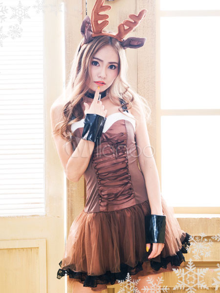 9a5d4a1a2ee Sexy Christmas Costume Reindeer Sexy Lingerie Dress Outfit Set In  Brown-No.1 ...