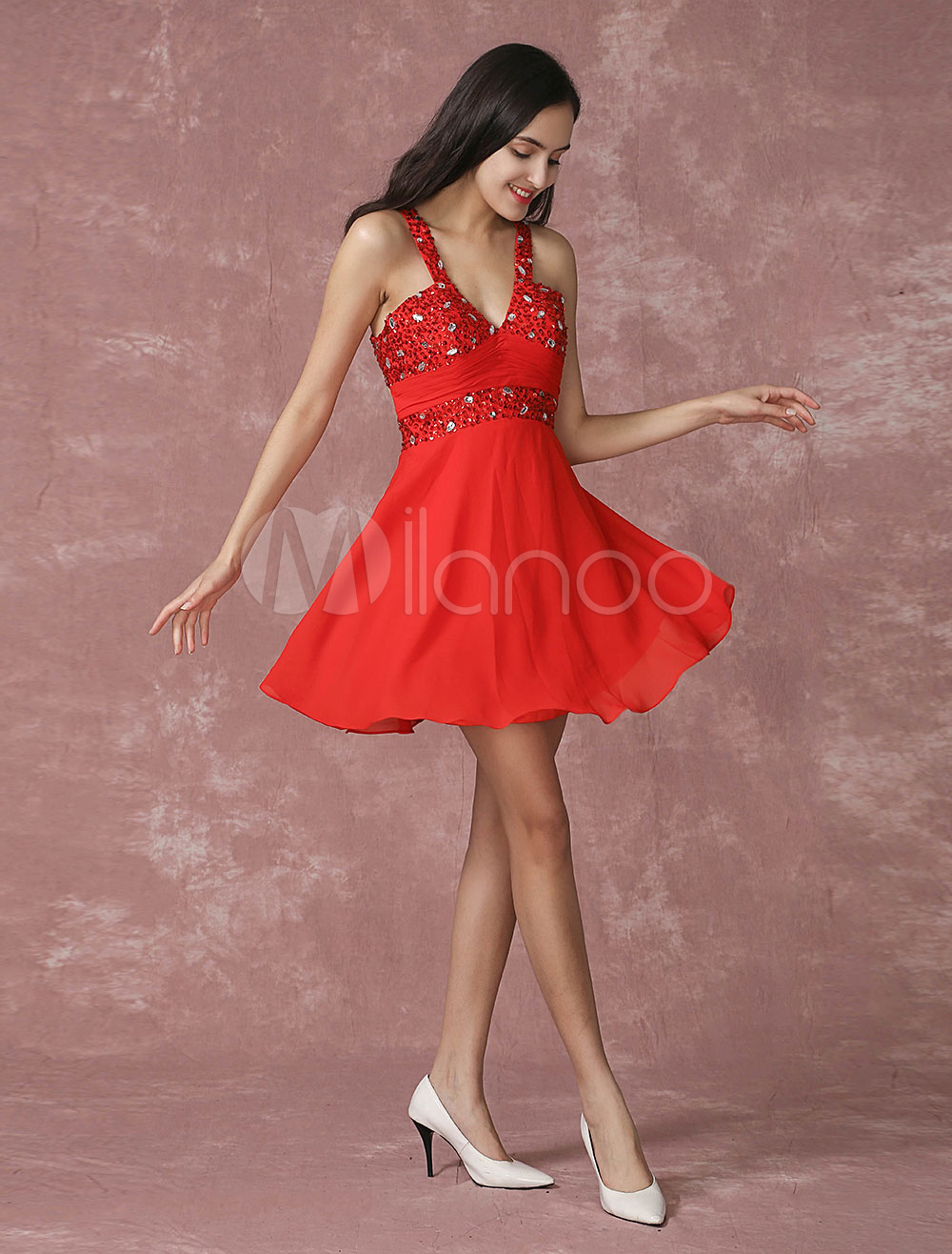 Buy Red Cocktail Dress Chiffon V Neck Beading Short Prom Dress Cross Back A Line Ruched Homecoming Dress for $115.19 in Milanoo store