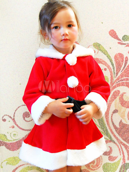 Buy Christmas Santa Costume Red Long Sleeve Skater Dress Santa Claus Costume For Kids Halloween for $13.79 in Milanoo store