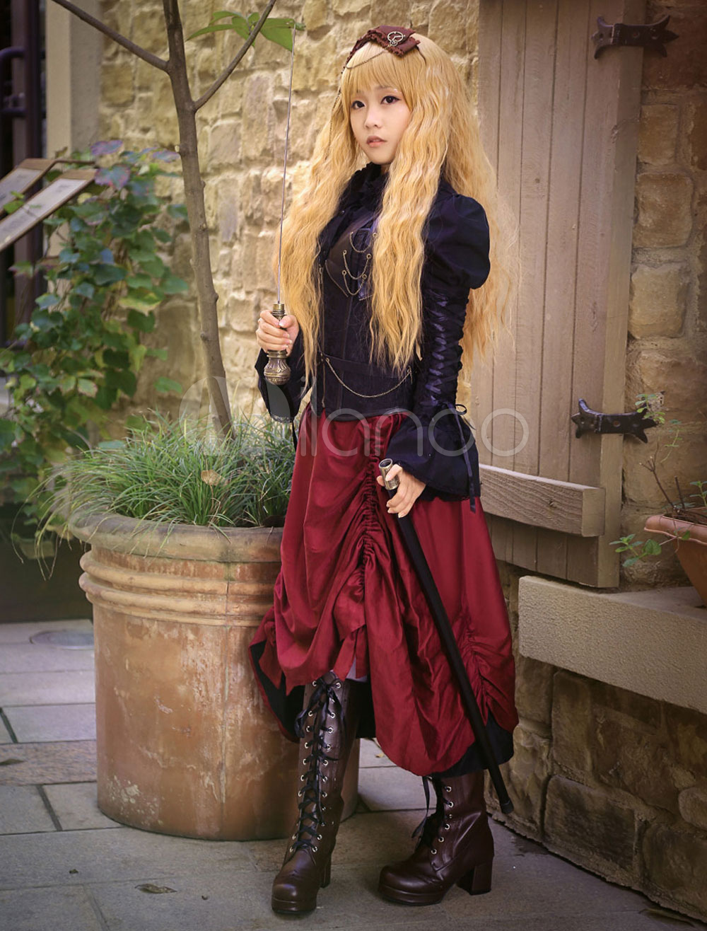 Buy Steampunk Vintage Costume Burgundy Long Skirt Pirate Retro Costume Halloween for $109.99 in Milanoo store