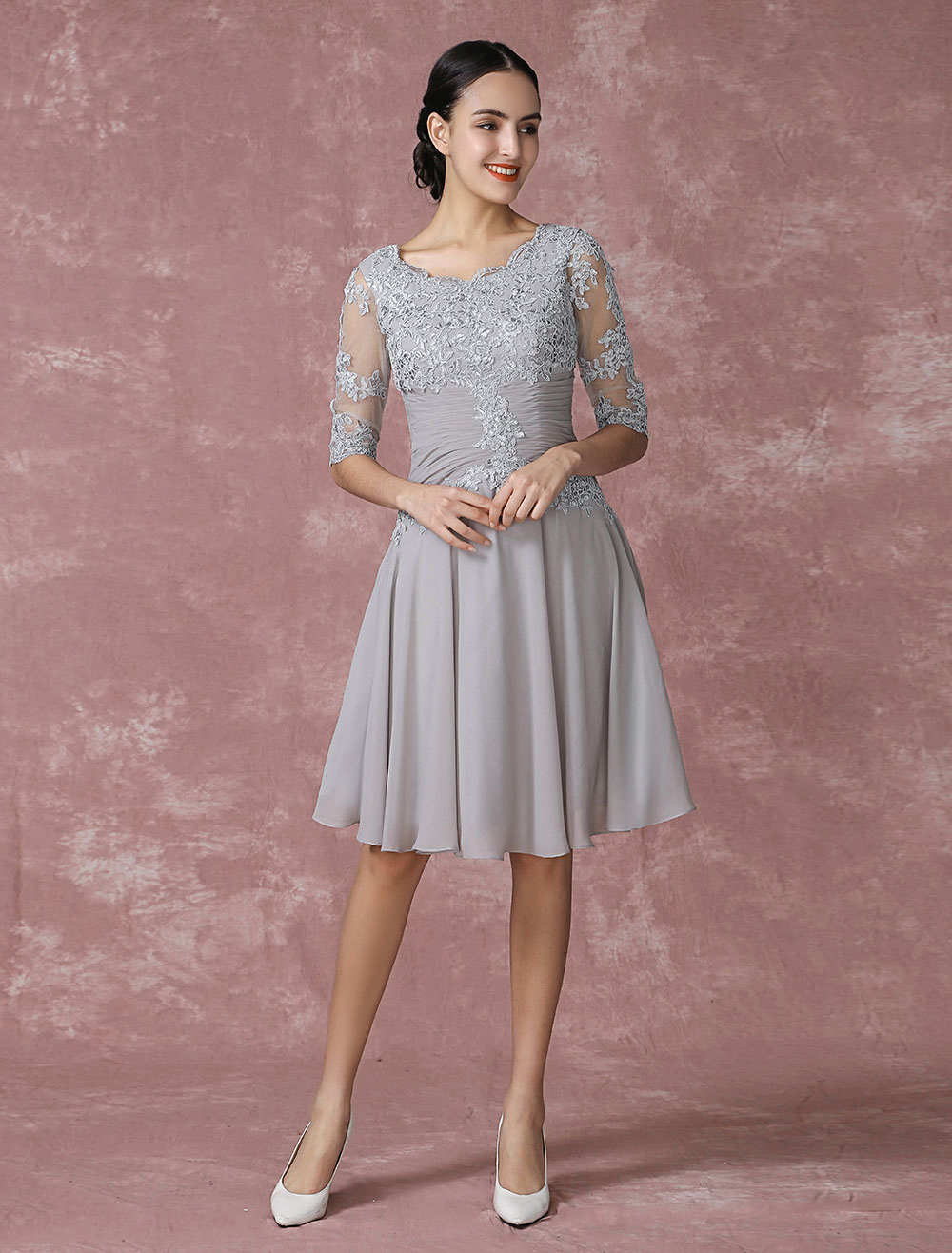 Buy Chiffon Cocktail Dress Applique Pleated Mother Of The Bride Dress A Line Illusion Half Sleeve Party Dress In Knee Length Milanoo for $112.49 in Milanoo store