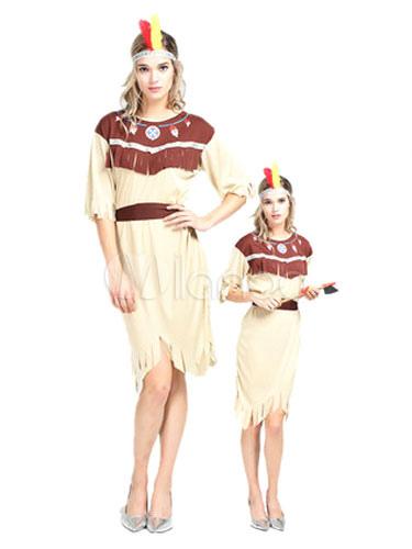 Buy Indian Halloween Costume Sexy Women's Khaki Short Sleeve Round Neck Tassel Sash Dress Costume Outfit Halloween for $9.19 in Milanoo store