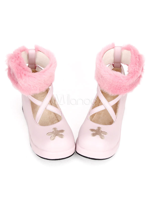 Buy Sweet Lolita Boots Cute Pink Round Toe Platform Wedge Faux Fur Cross Front Flower Lolita Ankle Boots for $68.99 in Milanoo store