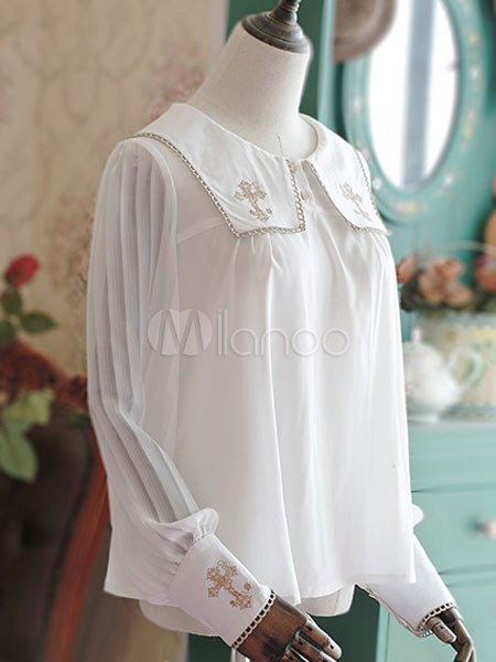 Buy Sweet Lolita Blouses White Chiffon Long Sleeve Sailor Collar Lolita Shirt for $48.59 in Milanoo store