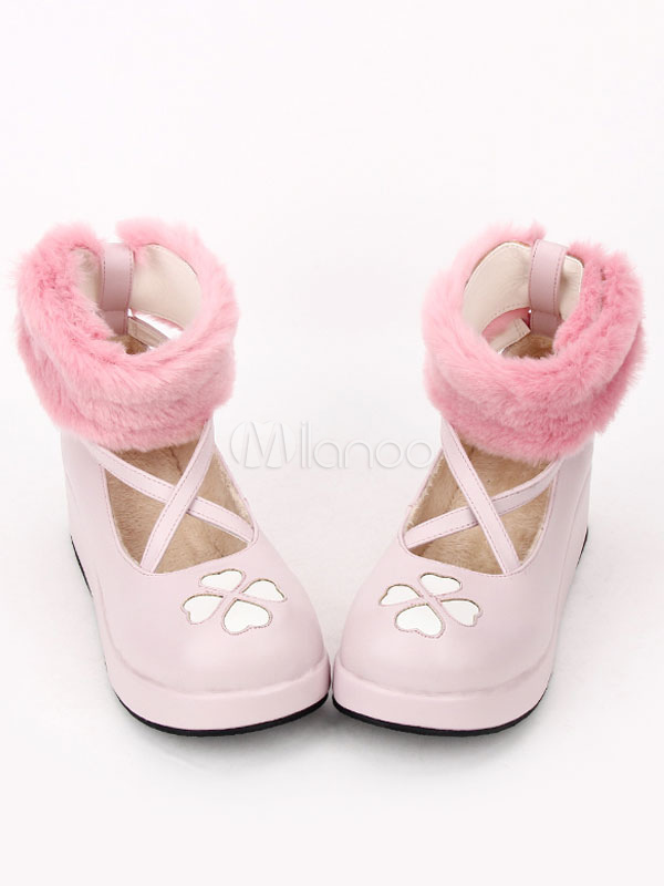 Buy Sweet Lolita Boots Cute Pink Round Toe Platform Wedge Faux Fur Cross Front Lolita Ankle Boots for $63.47 in Milanoo store