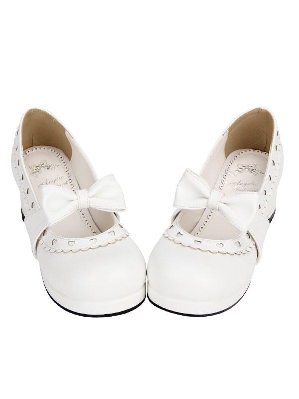 Sweet Lolita Shoes White Bow Chunky Heel Heart Round Toe Lolita Pumps