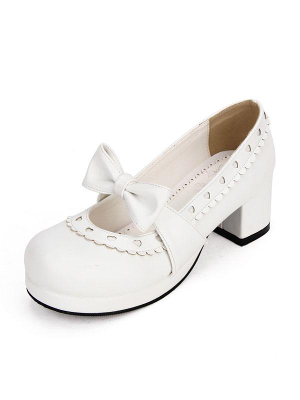 Zapatos de lolita blancos de corazón 7l9zC