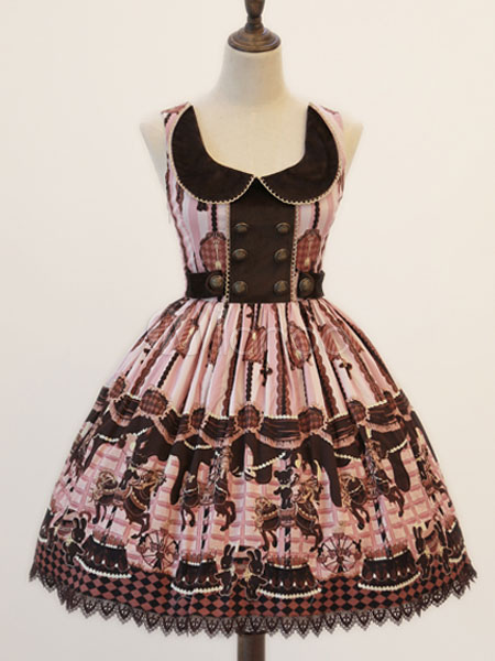 Buy Sweet Lolita Dress Jsk Sleeveless Peter Pan Collar Printed Double Breasted Lolita Jumper Skirt for $112.49 in Milanoo store