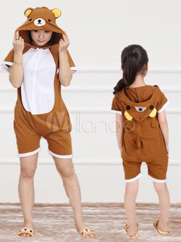 Kigurumi пижамы Rilakkuma медведь Onesie Snuggie коричневый короткий рукав  хлопок животных пижамы-No.1 73ee9dedb2820