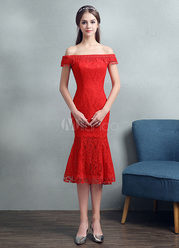 Buy Lace Cocktail Dress Red Off The Shoulder Prom Dress Mermaid Tassel Tea Length Party Dress for $74.79 in Milanoo store