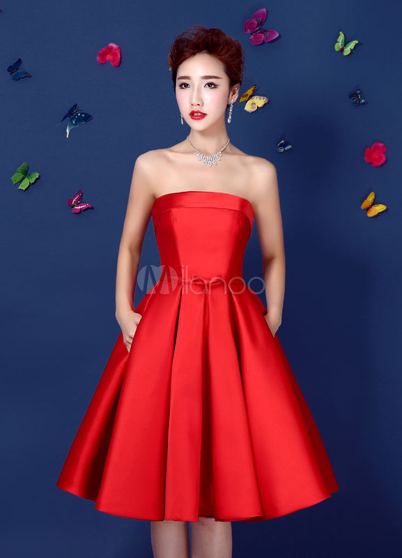 Buy Red Cocktail Dress Satin Strapless Backless Homecoming Dress A Line Lace Up Knee Length Party Dress With Bow Sash for $87.99 in Milanoo store