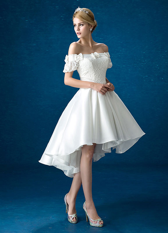 1a3cddd8969 ... Summer Wedding Dresses 2019 White Lace Satin Off The Shoulder Bridal  Gown High Low Beading Bows ...