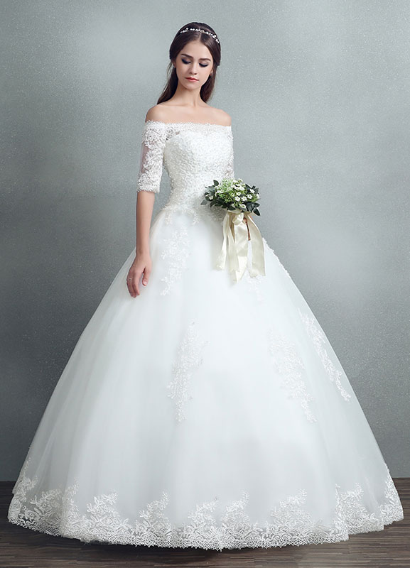bc6fbc0f9667 ... Princess Wedding Dress Lace Beading Maxi Bridal Gown Off The Shoulder  White Floor Length Ball Gown ...