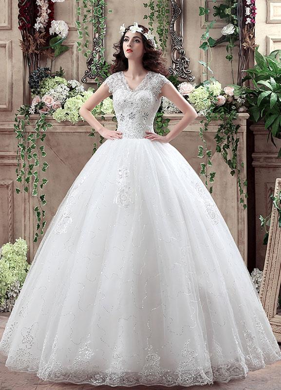 Blanco De Princesa Boda Vestido V Cuello Lentejuelas Maxi Vestido De Novia Encaje Rebordear Cerradura Piso Longitud Vestido De Novia