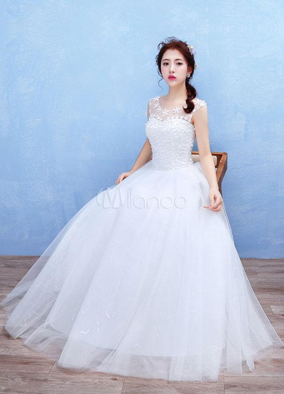 tul boda vestido flores 3d apliques maxi vestido de novia ilusión
