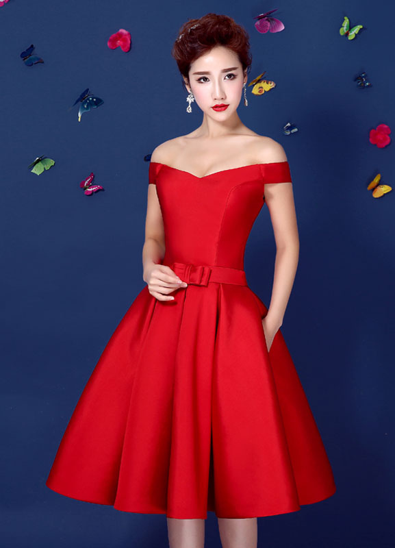 59d134f1935 ... Red Satin Cocktail Dress Off The Shoulder Homecoming Dress A Line Lace  Up Knee Length Party. 12