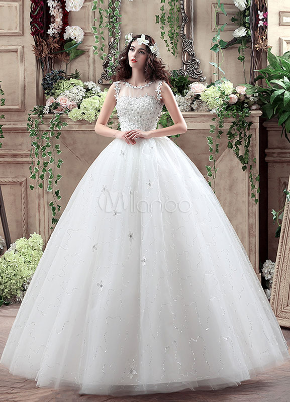 Buy Princess Wedding Dress 3D Flowers Applique White Maxi Beading Bridal Gown Illusion Tulle Sequins Keyhole Floor Length Bridal Dress for $120.59 in Milanoo store