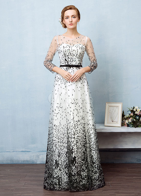 Buy Maxi Evening Dress Sweetheart Illusion Neckline Prom Dress A Line Long Sleeve Embroidered Floor Length Party Dress With Satin Sash for $149.59 in Milanoo store