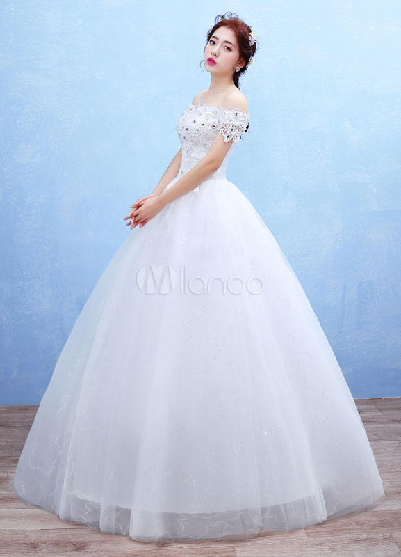 Vestido de novia princesa con escote de hombros caídos De banda de ...
