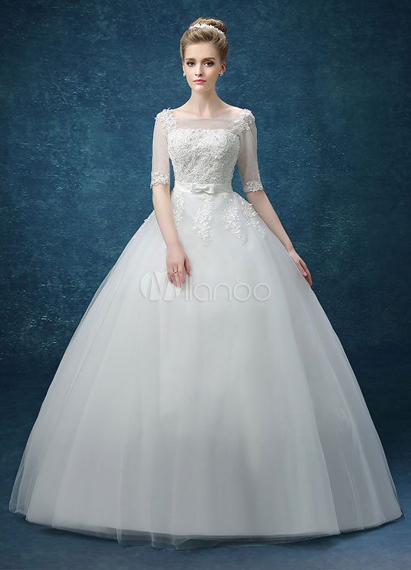Buy Ball Gown Wedding Dress Lace Applique Maxi Beading Bridal Gown Illusion Keyhole Half Sleeve Bow Sash Floor Length Bridal Dress for $131.99 in Milanoo store