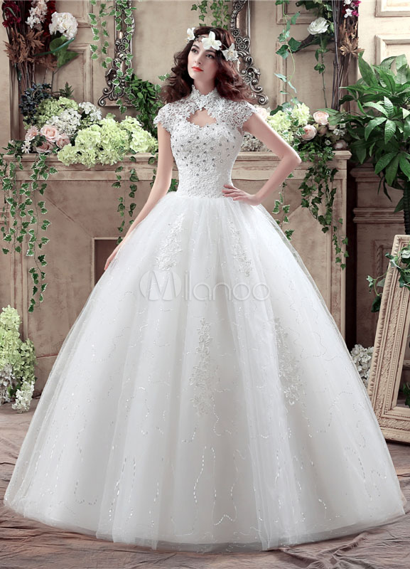 Buy Princess Wedding Dress Lace High Collar Maxi Bridal Gown Keyhole Rhinestone Beading Sequins Floor Length Ball Gown White Bridal Dress for $120.59 in Milanoo store