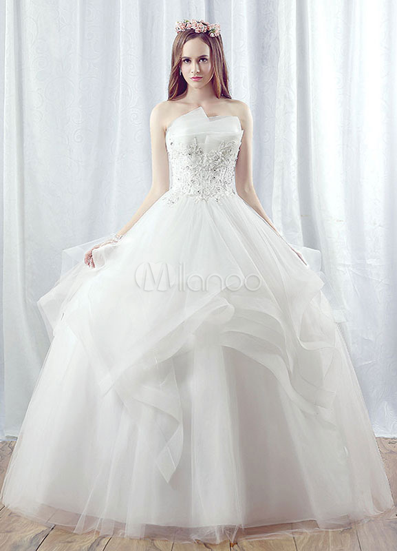 Buy Princess Wedding Dress Tulle Strapless Maxi Bridal Gown Lace Applique Beading Tiered White Ball Gown Bridal Dress for $149.59 in Milanoo store