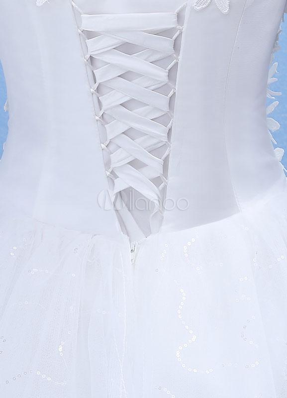 69ce9485ee8af ... ボールガウンウェディングドレス ホワイト スクープネック フロアレングス ナチュラルウェストライン プリンセスライン 七分