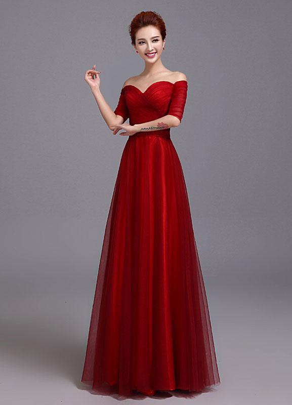Tulle Evening Dress Off The Shoulder Sweetheart Mother Of Bride Burgundy Ruched Half Sleeve