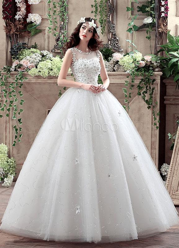 Prinzessin Brautkleid 3D Blumen Applique weißen Maxi Bilder