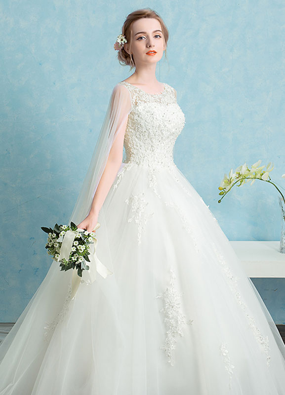 Princess Wedding Dress Lace Watteau Train Bridal Gown Beading ...