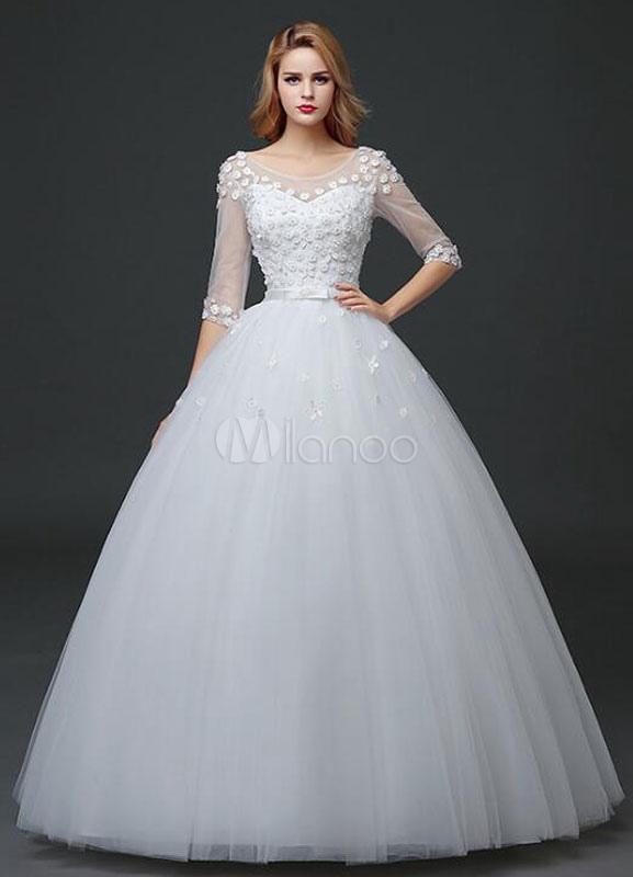 vestido de novia de princesa medio manga maxi vestido de novia