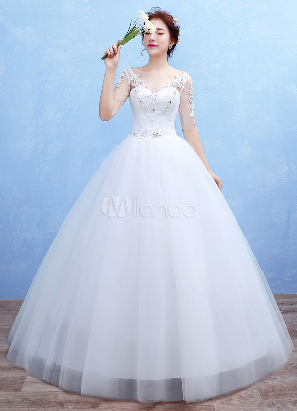 91339e074adad Tulle Wedding Dress Sweetheart Illusion Backless Maxi Bridal Gown Lace  Applique Half Sleeve Ball Gown Bridal Dress