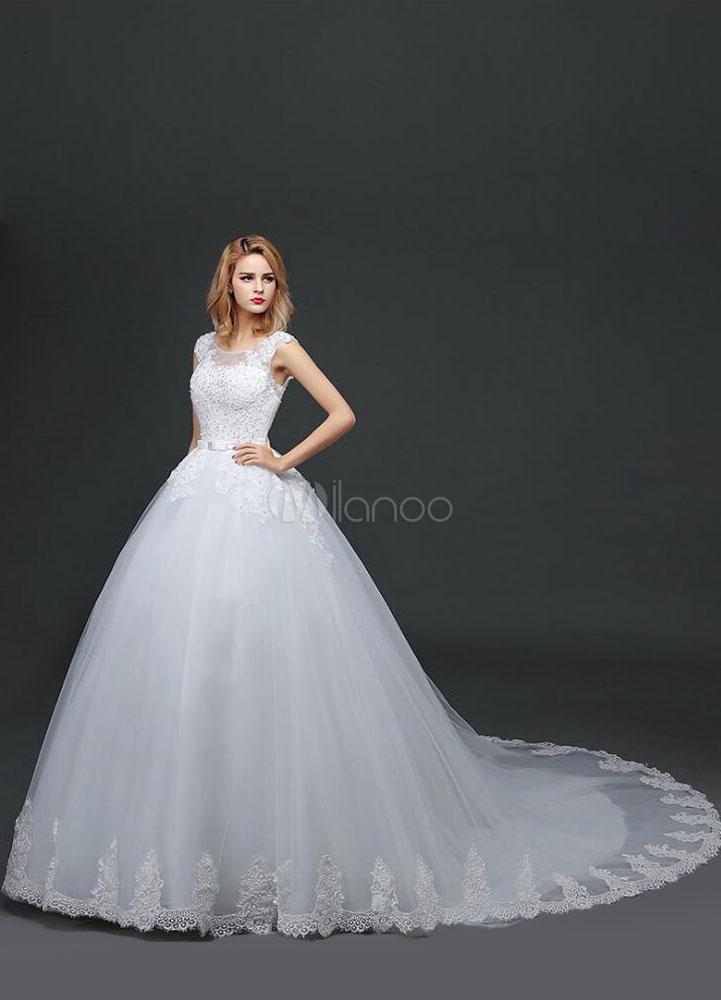 Hochzeit Kleid Kathedrale Zug weißen Brautkleid Sicke Bogen Schärpe ...