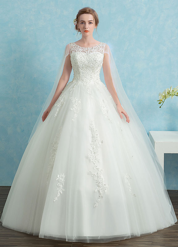 Buy Princess Wedding Dress Lace Watteau Train Bridal Gown Beading Illusion Keyhole White Bridal Dress for $171.59 in Milanoo store