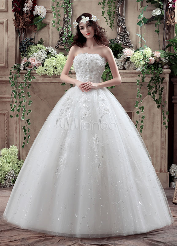Buy Tulle Wedding Dress Strapless 3D Flowers Beading Maxi Bridal Gown Backless Sequined Floor Length Ball Gown Bridal Dress for $120.59 in Milanoo store