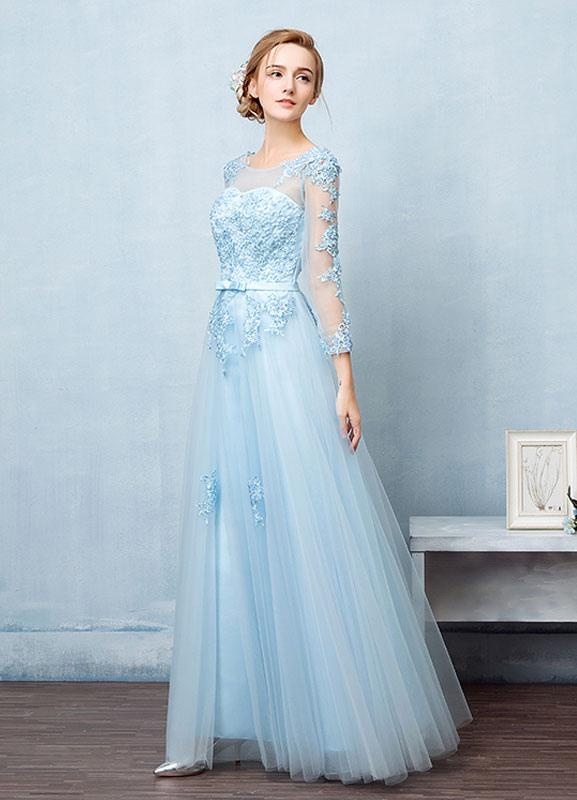 Tulle Evening Dress Backless Beading Flower Applique Prom Dress ...
