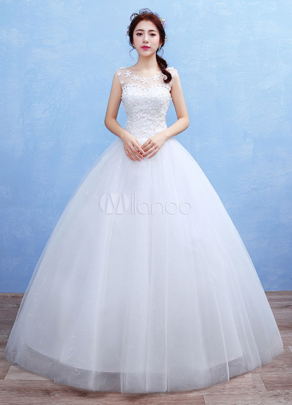 Buy Tulle Wedding Dress 3D Flowers Applique Maxi Bridal Gown Illusion Sweetheart Sleeveless Beading Sequins Floor Length Ball Gown Bridal Dress for $96.29 in Milanoo store