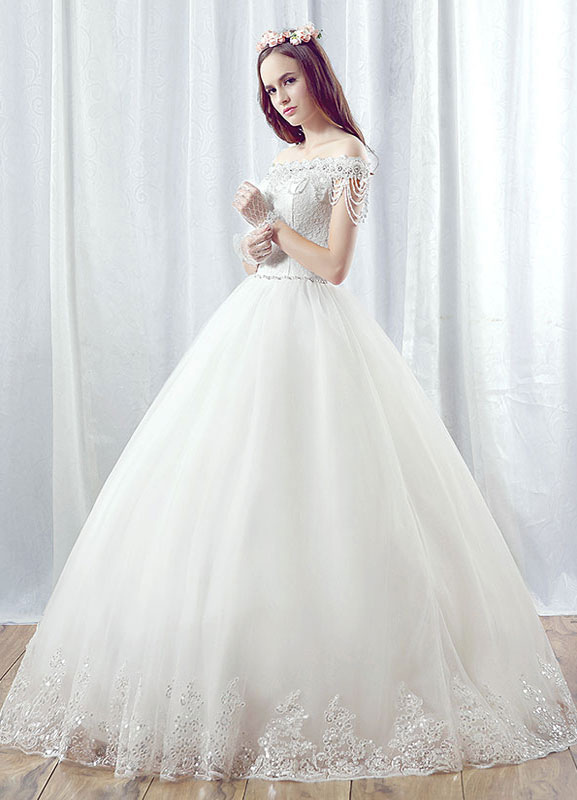 5ffc50d0a3d ... Lace Wedding Dress Ball Gown Maxi Bridal Dress Off The Shoulder  Backless Beading Tiered Chains White ...