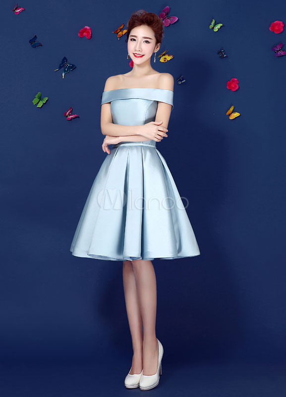 1b45a69fec ... Satin Cocktail Dress Off The Shoulder Prom Dress Pastel Blue A Line  Lace Up Pleated Knee ...