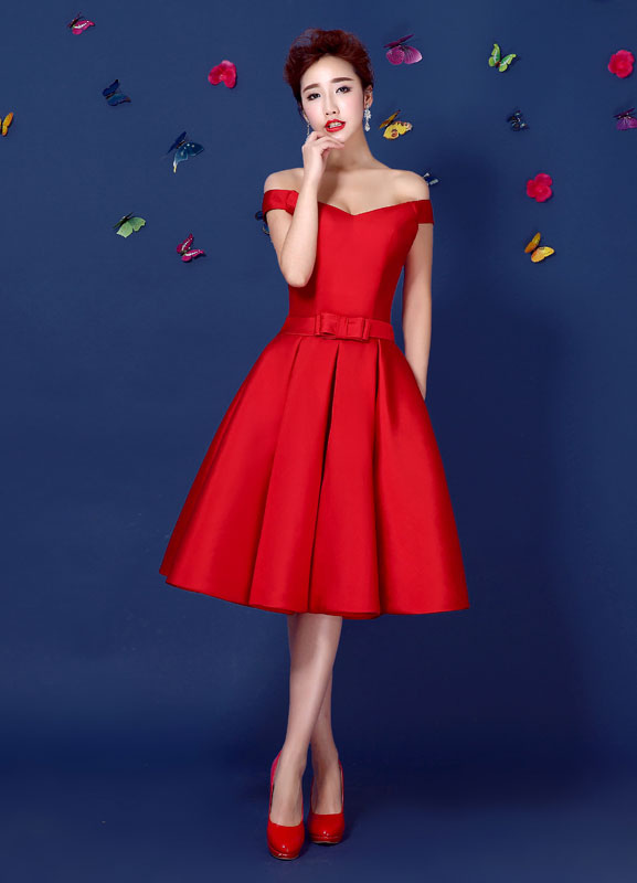 f5639836b00 ... Red Satin Cocktail Dress Off The Shoulder Homecoming Dress A Line Lace  Up Knee Length Party ...