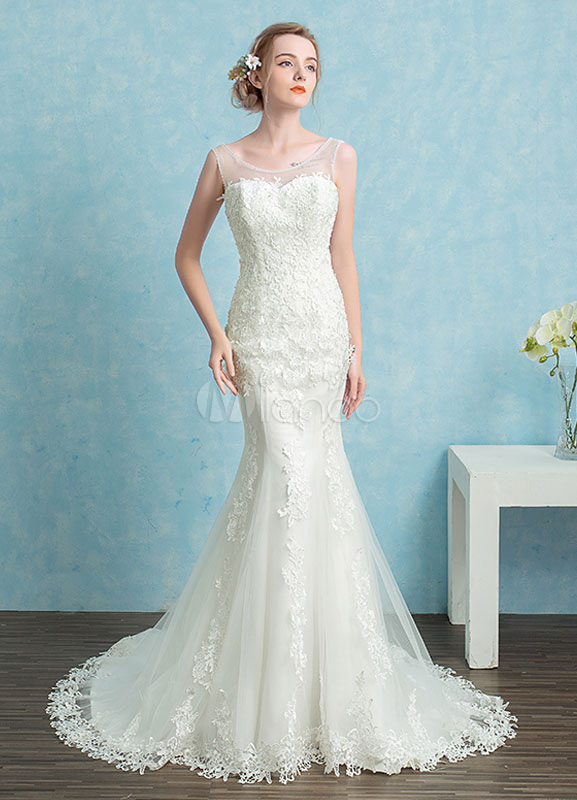 Mermaid Wedding Dress Lace Beading Sweetheart Bridal Gown White Backless Illusion Bridal Dress With Chapel Train