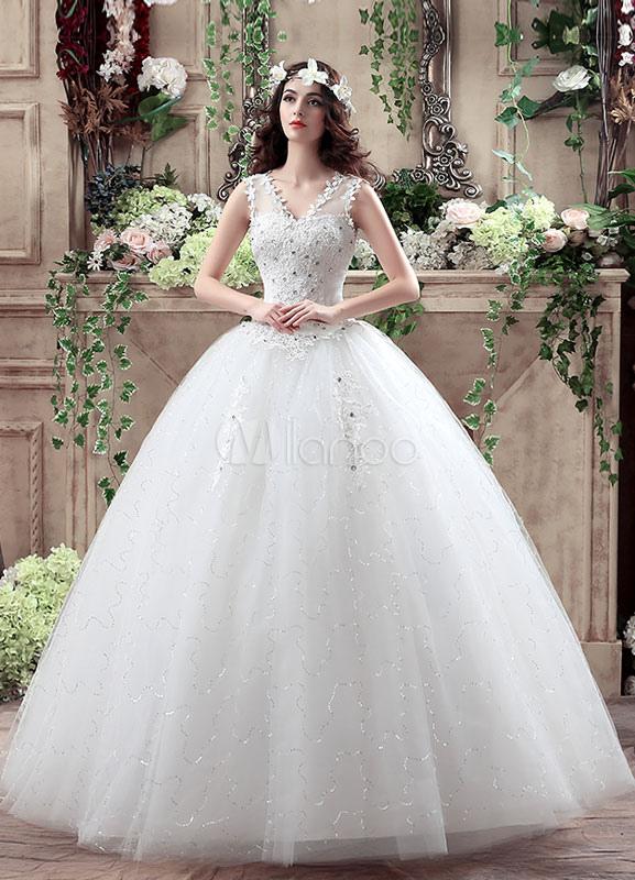princesa novia vestido v cuello encaje flores 3d apliques vestido de