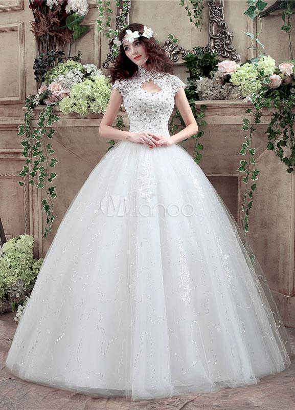 4f37c6c969 ... Princess Wedding Dress Lace High Collar Maxi Bridal Gown Keyhole  Rhinestone Beading Sequins Floor Length Ball ...